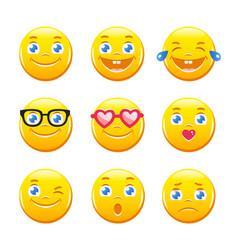 cute cartoon emoticons emoji icons smiley faces vector image