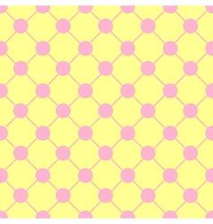 Pink Polka dot Chess Board Grid Yellow vector image vector image