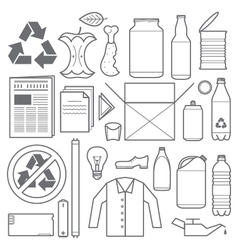recycling and various waste icons vector image