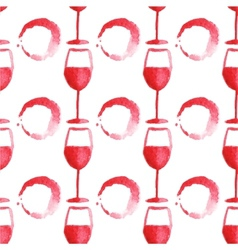 Seamless watercolor pattern with wine glass and vector image vector image