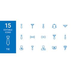 15 tie icons vector image