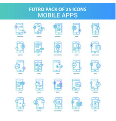 25 green and blue futuro mobile apps icon pack vector