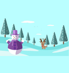 A hand drawing winter scene with deer and snowman vector