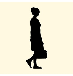 A silhouette of a girl with a bag walks in the vector