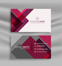 Abstract pink and gray business card design vector