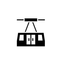 Aerial tramway icon solid vehicle and vector
