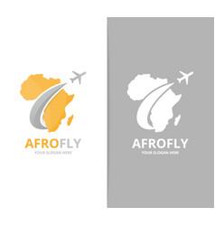 africa and plane logo combination safari vector image