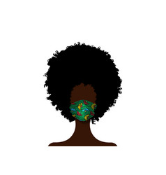 African woman wears fashion surgical mask covid-19 vector