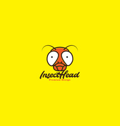 Animal head insect flies colorful cute logo vector