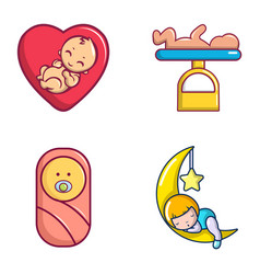 baby icon set cartoon style vector image
