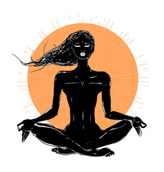 Beautiful girl in yoga pose vector