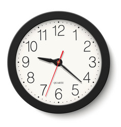 Black round wall clock isolated on vector