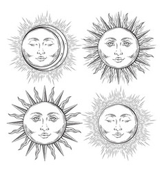 Boho flash tattoo design hand drawn sun set vector
