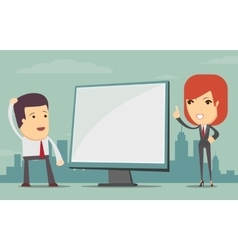 Business woman showing on the board vector image