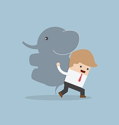 Businessman carrying elephant Leadership concept vector