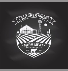 Butcher shop badge or label with cow beef farm vector