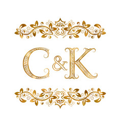 C and k vintage initials logo symbol letters c vector