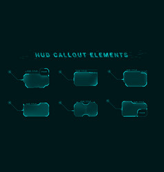 callout screen interface in hud style set of vector image