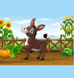 cartoon happy donkey in the farm vector image