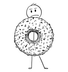 cartoon of angry man holding big donut or vector image