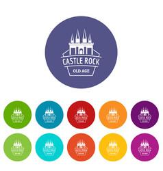 Castle rock icons set color vector
