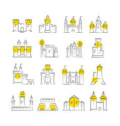 Castles and bastions line icons vector