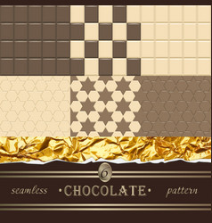Chocolate 6 seamless patterns vector