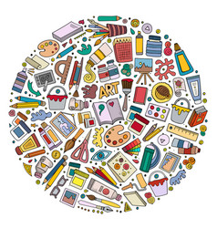 Colorful set art cartoon doodle objects vector
