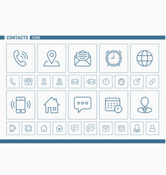 contacts icons - set web and mobile 02 vector image