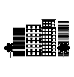 contour city scene and buildings with trees image vector image