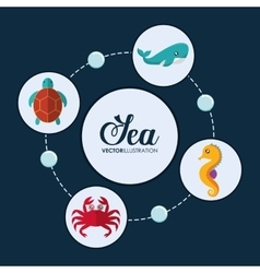 crab tortoise whale and sea horse icon vector image