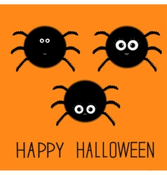 Cute fluffy spider set Happy Halloween card Flat vector