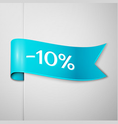 cyan ribbon with text ten percent for discount vector image
