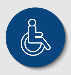 Disabled sign white contour vector