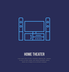 Entertainment system with blank screen flat line vector