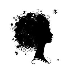 Female profile silhouette vector image