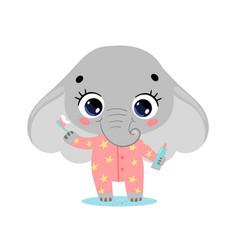 Flat doodle cute cartoon elephant brushing teeth vector