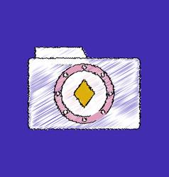 flat shading style icon casino chip on folder vector image