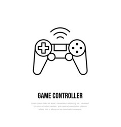 game controller flat line icon gaming sign vector image