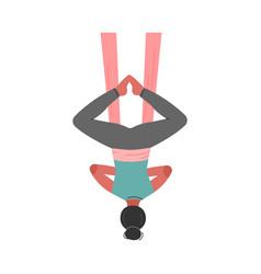 Girl doing air yoga slim in sportswear vector