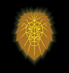 Gold lion head geometric lines silhouette vector