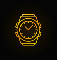 golden watch line icon - wrist watch linear vector image