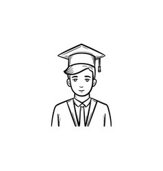 Graduate student hand drawn sketch icon vector