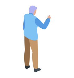 Grandfather talking icon isometric style vector