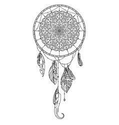 hand drawn dreamcatcher with feather of birds vector image