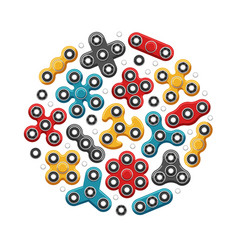 hand spinners or fidget spinner toys icons vector image