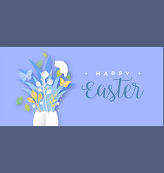 happy easter paper cut egg spring holiday card vector image