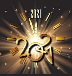Happy new year background with clock face and vector