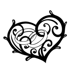Heart rings wedding vector