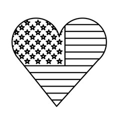 Heart with american flag vector